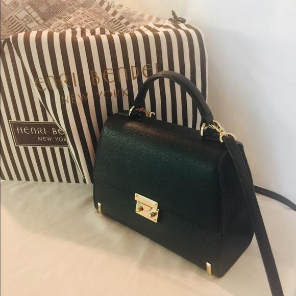 henri bendel Handbags - Henri Bendel Jet Black Waldorf Top Handle Satchel.